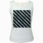 STRIPES3 BLACK MARBLE & ICE CRYSTALS Women s White Tank Top