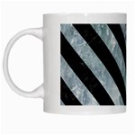 STRIPES3 BLACK MARBLE & ICE CRYSTALS White Mugs