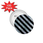 STRIPES3 BLACK MARBLE & ICE CRYSTALS 1.75  Buttons (100 pack)