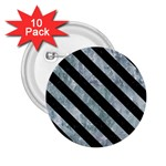 STRIPES3 BLACK MARBLE & ICE CRYSTALS 2.25  Buttons (10 pack)