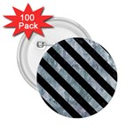 STRIPES3 BLACK MARBLE & ICE CRYSTALS 2.25  Buttons (100 pack)
