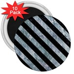 STRIPES3 BLACK MARBLE & ICE CRYSTALS 3  Magnets (10 pack)