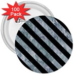 STRIPES3 BLACK MARBLE & ICE CRYSTALS 3  Buttons (100 pack)