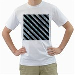 STRIPES3 BLACK MARBLE & ICE CRYSTALS Men s T-Shirt (White) (Two Sided)