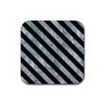 STRIPES3 BLACK MARBLE & ICE CRYSTALS Rubber Coaster (Square)