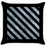 STRIPES3 BLACK MARBLE & ICE CRYSTALS Throw Pillow Case (Black)