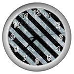 STRIPES3 BLACK MARBLE & ICE CRYSTALS Wall Clocks (Silver)