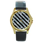 STRIPES3 BLACK MARBLE & ICE CRYSTALS Round Gold Metal Watch