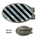 STRIPES3 BLACK MARBLE & ICE CRYSTALS Money Clips (Oval)