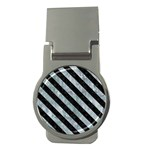 STRIPES3 BLACK MARBLE & ICE CRYSTALS Money Clips (Round)