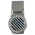STRIPES3 BLACK MARBLE & ICE CRYSTALS Money Clips (CZ)