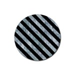 STRIPES3 BLACK MARBLE & ICE CRYSTALS Rubber Coaster (Round)