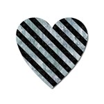 STRIPES3 BLACK MARBLE & ICE CRYSTALS Heart Magnet