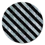 STRIPES3 BLACK MARBLE & ICE CRYSTALS Magnet 5  (Round)