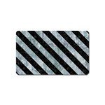 STRIPES3 BLACK MARBLE & ICE CRYSTALS Magnet (Name Card)
