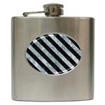 STRIPES3 BLACK MARBLE & ICE CRYSTALS Hip Flask (6 oz)
