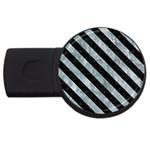 STRIPES3 BLACK MARBLE & ICE CRYSTALS USB Flash Drive Round (2 GB)