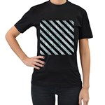 STRIPES3 BLACK MARBLE & ICE CRYSTALS Women s T-Shirt (Black) (Two Sided)