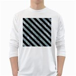 STRIPES3 BLACK MARBLE & ICE CRYSTALS White Long Sleeve T-Shirts