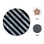 STRIPES3 BLACK MARBLE & ICE CRYSTALS Playing Cards (Round)