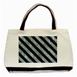STRIPES3 BLACK MARBLE & ICE CRYSTALS Basic Tote Bag