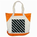 STRIPES3 BLACK MARBLE & ICE CRYSTALS Accent Tote Bag