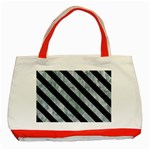 STRIPES3 BLACK MARBLE & ICE CRYSTALS Classic Tote Bag (Red)