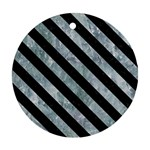 STRIPES3 BLACK MARBLE & ICE CRYSTALS Round Ornament (Two Sides)