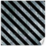 STRIPES3 BLACK MARBLE & ICE CRYSTALS Canvas 12  x 12