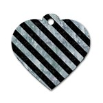 STRIPES3 BLACK MARBLE & ICE CRYSTALS Dog Tag Heart (Two Sides)