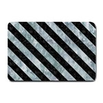 STRIPES3 BLACK MARBLE & ICE CRYSTALS Small Doormat