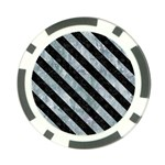 STRIPES3 BLACK MARBLE & ICE CRYSTALS Poker Chip Card Guard