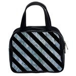 STRIPES3 BLACK MARBLE & ICE CRYSTALS Classic Handbags (2 Sides)