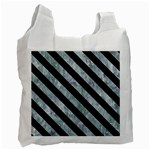 STRIPES3 BLACK MARBLE & ICE CRYSTALS Recycle Bag (Two Side)
