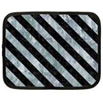 STRIPES3 BLACK MARBLE & ICE CRYSTALS Netbook Case (XL)