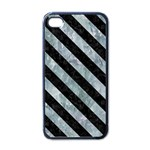 STRIPES3 BLACK MARBLE & ICE CRYSTALS Apple iPhone 4 Case (Black)