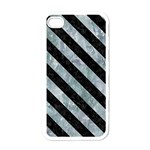 STRIPES3 BLACK MARBLE & ICE CRYSTALS Apple iPhone 4 Case (White)
