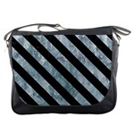 STRIPES3 BLACK MARBLE & ICE CRYSTALS Messenger Bags