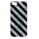 STRIPES3 BLACK MARBLE & ICE CRYSTALS Apple iPhone 5 Seamless Case (White)