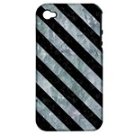 STRIPES3 BLACK MARBLE & ICE CRYSTALS Apple iPhone 4/4S Hardshell Case (PC+Silicone)