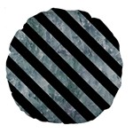 STRIPES3 BLACK MARBLE & ICE CRYSTALS Large 18  Premium Round Cushions