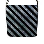STRIPES3 BLACK MARBLE & ICE CRYSTALS Flap Messenger Bag (L)