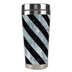 STRIPES3 BLACK MARBLE & ICE CRYSTALS Stainless Steel Travel Tumblers