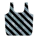 STRIPES3 BLACK MARBLE & ICE CRYSTALS Full Print Recycle Bags (L)