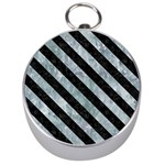 STRIPES3 BLACK MARBLE & ICE CRYSTALS Silver Compasses