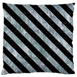STRIPES3 BLACK MARBLE & ICE CRYSTALS Large Flano Cushion Case (One Side)