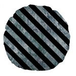 STRIPES3 BLACK MARBLE & ICE CRYSTALS Large 18  Premium Flano Round Cushions