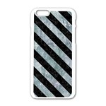 STRIPES3 BLACK MARBLE & ICE CRYSTALS Apple iPhone 6/6S White Enamel Case