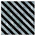 STRIPES3 BLACK MARBLE & ICE CRYSTALS Large Satin Scarf (Square)