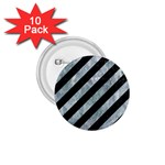 STRIPES3 BLACK MARBLE & ICE CRYSTALS (R) 1.75  Buttons (10 pack)